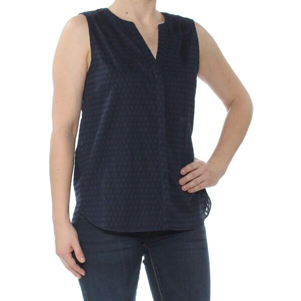 NYDJ Womens Navy Pintuck Cotton D Sleeveless V Neck Blouse Top Size: XS