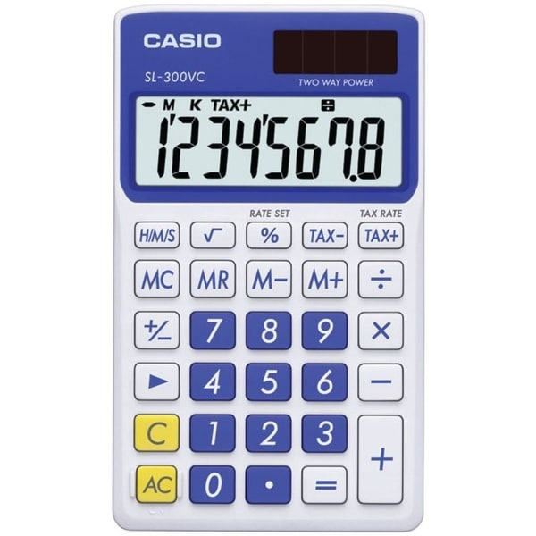 Solar Wallet Calculator with 8-Digit Display (Blue). Opens flyout.