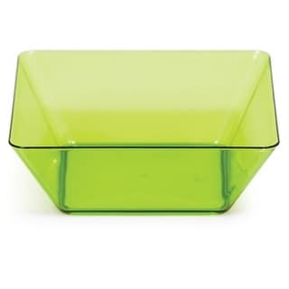 "Club Pack of 48 Translucent Green Plastic Square Bowl 5"""