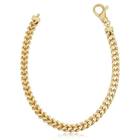 10k Yellow Gold 5.3 millimeters Franco Link Bracelet for Men (8.5 inches)