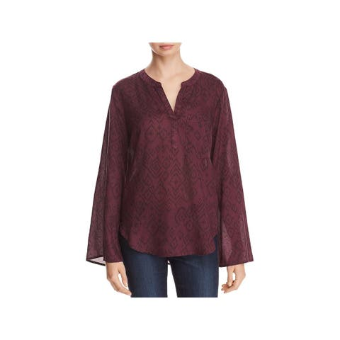 Side Stitch Womens Blouse Printed Flare Sleeves