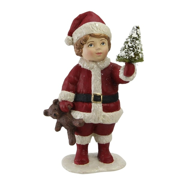 "5"" Santa's Little Helper Child with Mini Tree Christmas Figurine Decoration"