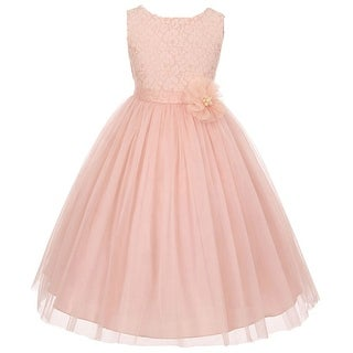 0470b193d4c Shop Flower Girl Dress Floral Pattern Top Soft Tulle Skirt Blush MBK 346 -  Free Shipping Today - Overstock - 17752499