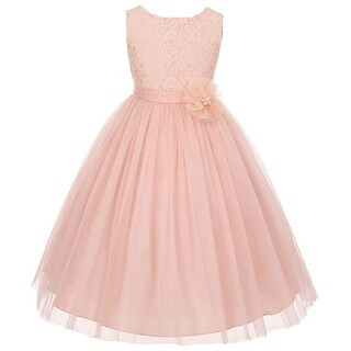 Flower Girl Dress Floral Pattern Top Soft Tulle Skirt Blush MBK 346