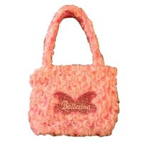Girls Pink Fuzzy Velvet Glitter Butterfly Ballerina Applique Purse - One size