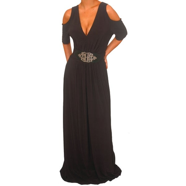 Funfash Plus Size Gothic Black Open Shoulders Womens Long Maxi Dress