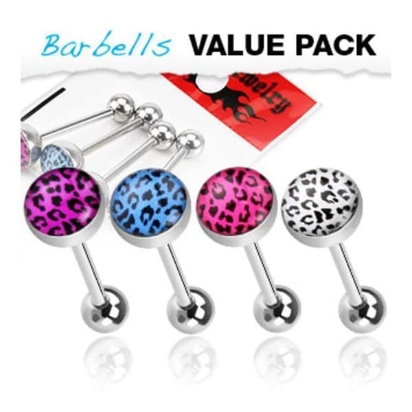 4 Pcs Pack of Assorted Color Surgical Steel Barbells with Leopard Print Logo Ball - 14 GA