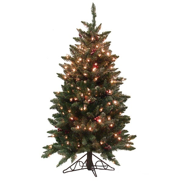 4.5' Pre-Lit Frosted Edina Slim Artificial Christmas Tree - Clear Lights - green