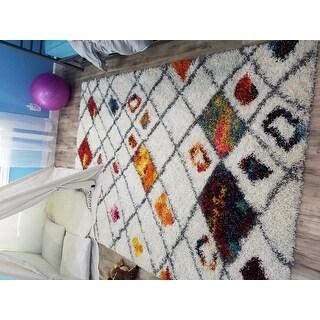 nuLOOM Sot and Plush Moroccan Color Burst Lattice Shag Multi Rug (5'3 x 7'6)