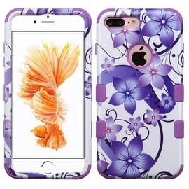 Insten Purple/ White Hibiscus Flower Romance Tuff Hard PC/ Silicone Dual Layer Hybrid Case Cover For Apple iPhone 7 Plus