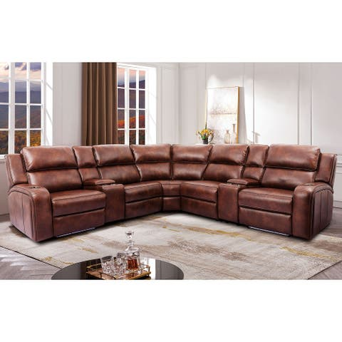 Furniture of America Vancouver Transitional Brown Power Sectional