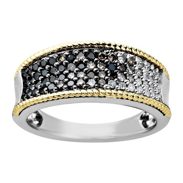 1/2 ct Diamond Ombré Band Ring in Sterling Silver & 14K Gold - Black