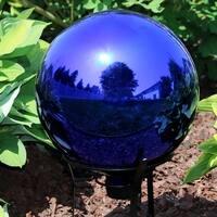 Sunnydaze Blue Mirrored Surface Outdoor Garden Gazing Ball Globe - 10-Inch
