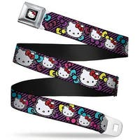 Hello Kitty W Red Bow Full Color Black Hello Kitty Multi Face W Stripes Seatbelt Belt