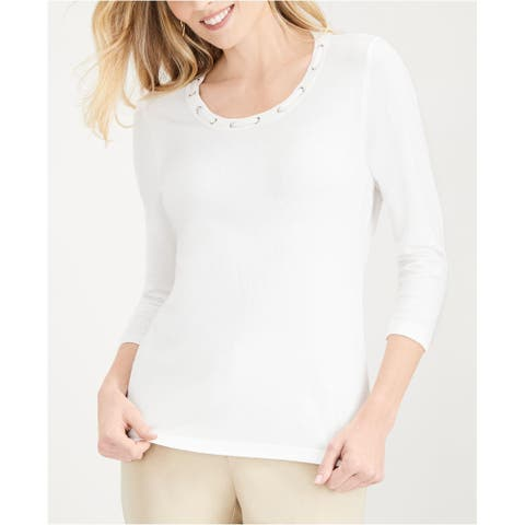 Karen Scott Women's Grommet-Trimmed Knit Top White Size 2 Extra Large - XX-Large