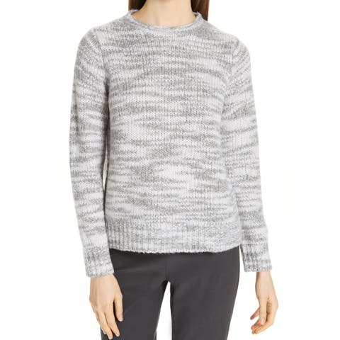 Eileen Fisher Gray Womens Size Small S Marled Crewneck Sweater