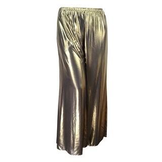 MSK Women's Metallic Wide-Leg Pants - Black/gold