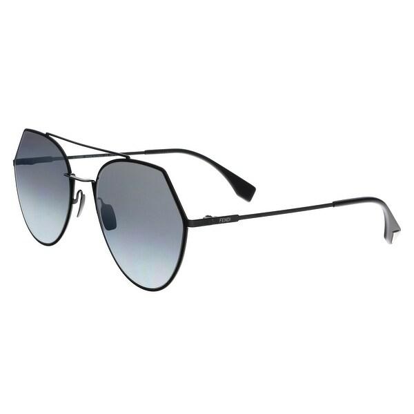 ae2f92e213 Shop FENDI 0194 S GO 0807 Black Aviator Sunglasses - 55-19-140 - On ...