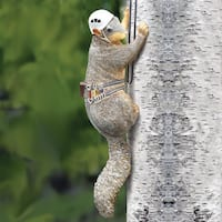 Outdoor Hand Painted Squirrel Tree Climber Sculpture - Fun Garden Statue - 6 in. x 14 in. x 6 in.