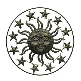 Antique Bronze Celestial Sun & Stars Indoor/Outdoor Metal Wall Decor