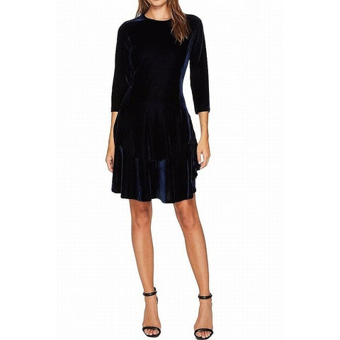 Donna Morgan Blue Womens Size 6 Velvet 3/4 Sleeve A-Line Dress