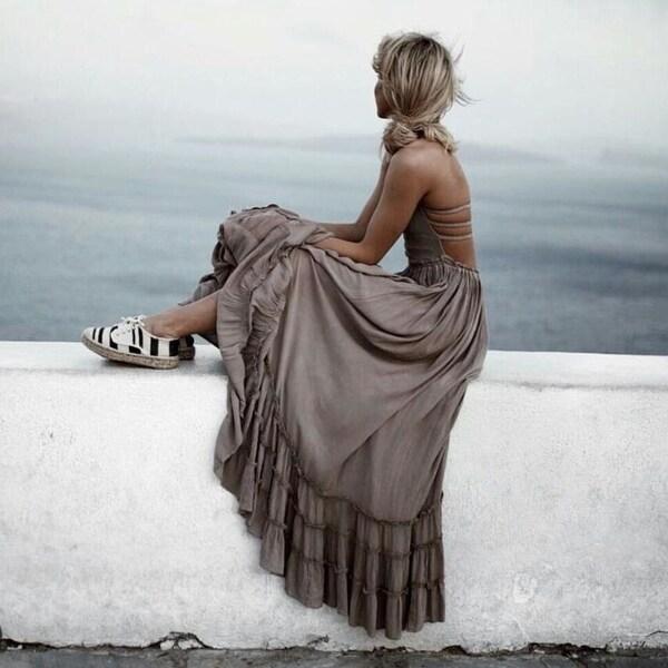 bf3b4887679 Hot Backless Halter Mixi Dress Casual Ruffles Cotton Linen Dress Boho  Vintage Summer Long Dress Women