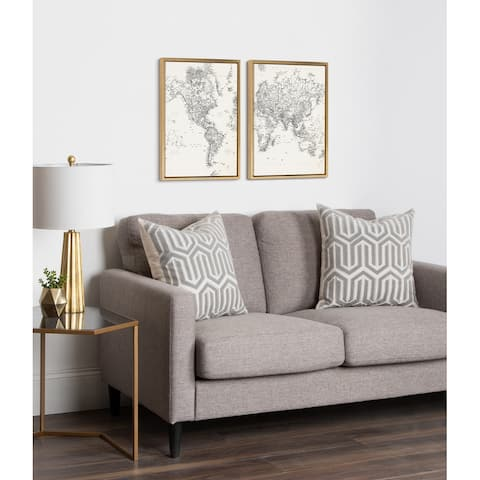 Kate and Laurel Sylvie Map Canvas Set by The Creative Bunch Studio