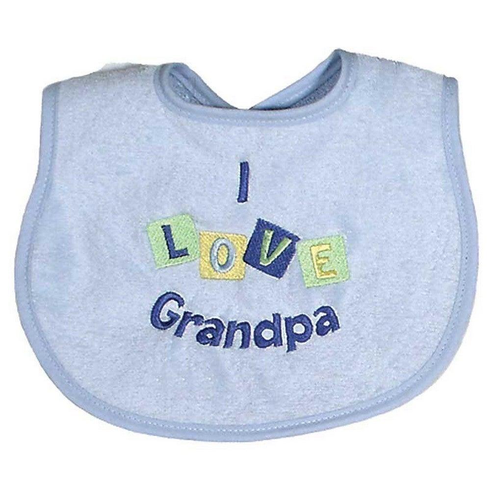 Boy I Love Grandpa Embroidered Baby Bib