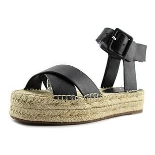 Marc Fisher Vienna Women Open Toe Leather Black Sandals