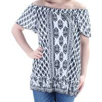INC Womens Black Floral Short Sleeve Off Shoulder Peasant Top  Size: M