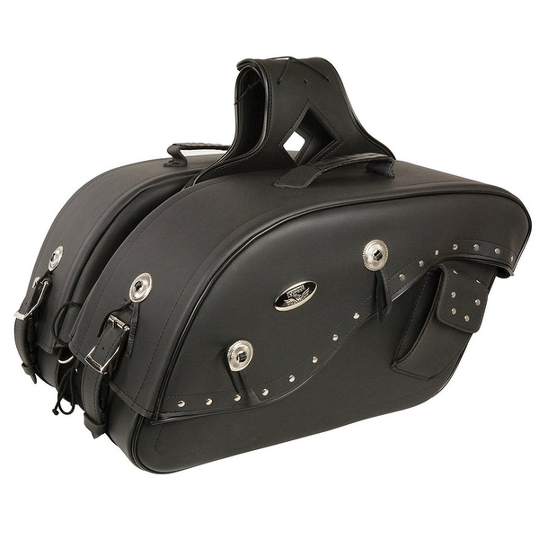 Black Leather Motorcycle Saddle Bags 13x10x6x19 One Size