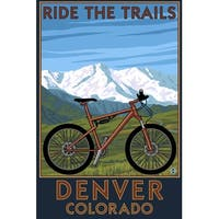 Denver, CO - Mountain Bike Scene - LP Artwork (Cotton/Polyester Chef's Apron)