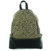 Madden Girl Womens Backpack Animal Print Faux Leather Trim