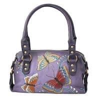 Women's Butterfly Handbag - Hand Painted Purple Leather Satchel Purse - One size