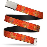 Blank Chrome  Buckle Charmander Poses Flames Orange Red Webbing Web Belt - S