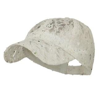 Lace Sequin Glitter Cap - White W41S52F