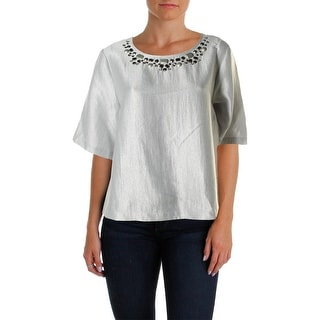 Vince Camuto Womens Glacier Dream Embellished Keyhole Blouse