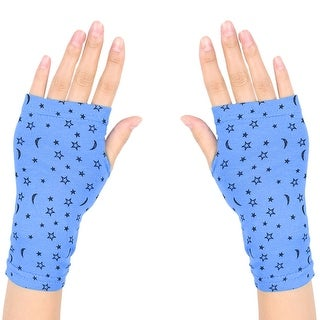 Unique Bargains Women Moon Star Print Short Fingerless Gloves Wrist Warmer Mitts Cyan Blue Pair