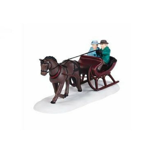 """Department 56 New England Village """"Sleigh Ride"""" Accessory #4036536 - brown"""