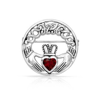 Bling Jewelry 925 Silver Celtic Claddagh Brooch Red Heart CZ