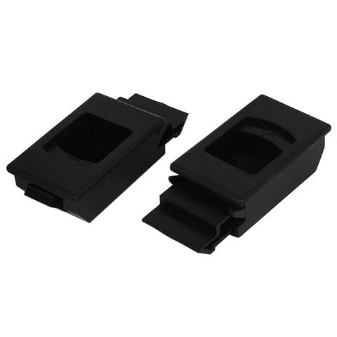 Unique Bargains Cabinet Plastic Inside Pull Rectangular Shape Latch Black 2 Pcs