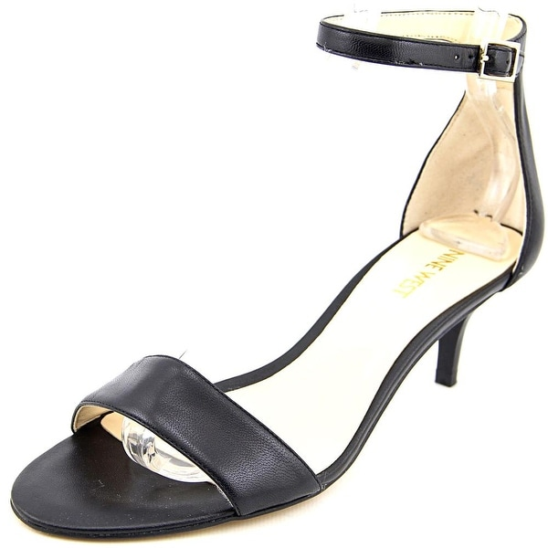 Nine West Leisa Women Open Toe Leather Black Sandals