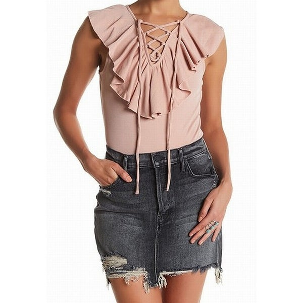 f718931b39c Shop Melrose and Market Pink Womens Large L Ruffled Lace-Up Bodysuit Top -  Free Shipping On Orders Over  45 - Overstock - 22340901