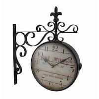 Double Sided Fine Wines Decorative Fleur De Lis Station Clock