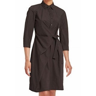 Max Mara NEW Brown Gray Womens Size 6 Canossa Belted Shirt Dress