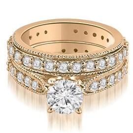2.50 cttw. 14K Rose Gold Cathedral Round Cut Eternity Diamond Bridal Set