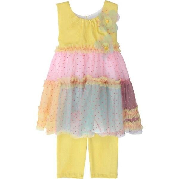 Isobella & Chloe Baby Girls Yellow Pineapple Guava Two Piece Pant Set 3M-24M