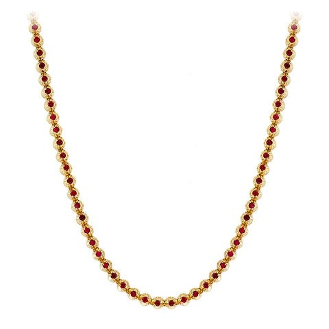 Mens Unique Round Ruby Chain Necklace 10.5 in 10k Gold by Luxurman