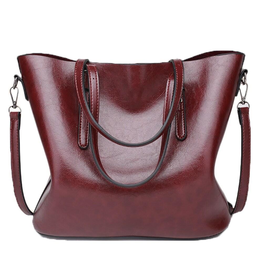 802e37080231f QZUnique Women's PU Leather Large Bucket Bag Casual Tote Handbag Cross Body  Shoulder-bag
