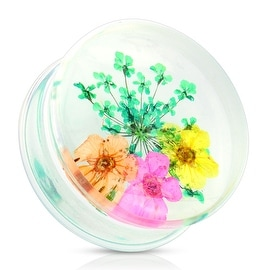 Green Dried Flower Clear Acrylic Saddle Fit Plug (Sold Individually)